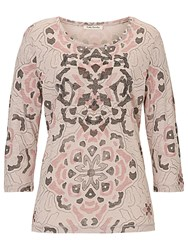 Betty Barclay Embellished Print Top Beige Rose