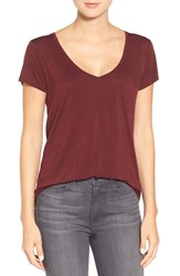 Paige Women's Denim 'Lynnea' V Neck Pocket Tee Deep Syrah