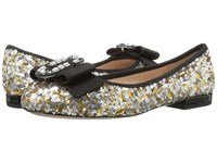 Marc Jacobs Interlock Round Toe Ballerina Gold Silver Women's Ballet Shoes