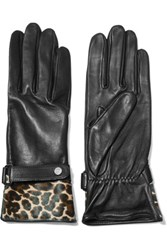 Agnelle Alexa Leopard Print Calf Hair Paneled Leather Gloves Black