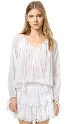 Loveshackfancy Stacey Peasant Blouse White