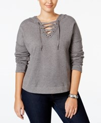 Extra Touch Trendy Plus Size Lace Up Hoodie Mid Heather