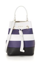 Furla Stripe Stacy Mini Bucket Bag Chalk Navy
