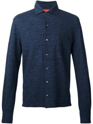 Isaia Long Sleeve Polo Shirt Blue