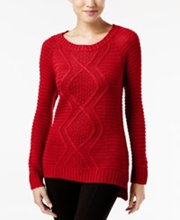 Ny Collection Cable Knit Sweater Scarlet Sage