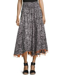 Neiman Marcus Printed Smocked Waist Fringe Skirt Black White Orange
