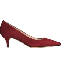 Lk Bennett Minu Kitten Heel Court Shoes Red Mulberry
