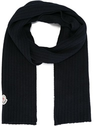 Moncler Ribbed Knit Scarf Blue