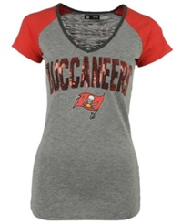 5Th And Ocean Women's Tampa Bay Buccaneers Sequin T Shirt Gray Red