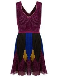 Gig Flared Knit Dress Pink And Purple