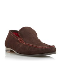 Loake Nicholson Contrast Stitch Suede Loafers Brown