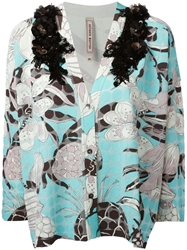 Antonio Marras Flower Print Embellished Cardigan