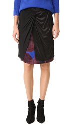 Dkny Mixed Media Skirt With Front Knot Black Multi