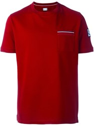 Moncler Gamme Bleu Pocket Trim Detail T Shirt Red