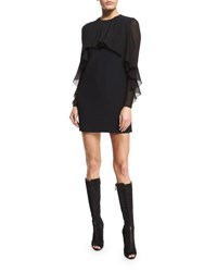 Giambattista Valli Cady Flutter Sleeve Dress Black