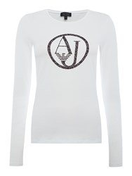 Armani Jeans Long Sleeve Flocked Logo Top White