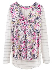 Joules Beatrice Floral Print Jersey Top Cream Scatter