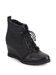 Ellen Tracy Torino Leather And Faux Shearling Wedge Booties Charcoal