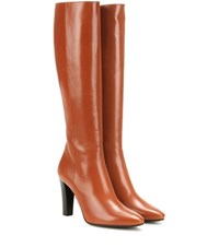 Saint Laurent Lily 95 Leather Knee High Boots Brown