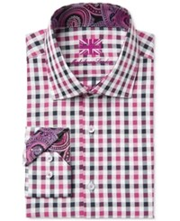 Michelsons Of London Men's Slim Fit Black And Pink Checked Dress Shirt