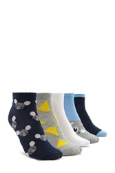 Forever 21 Ankle Sock Set 5 Pack Navy Multi