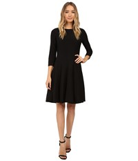 Christin Michaels Andrea 3 4 Sleeve Fit And Flare Dress Black Women's Dress