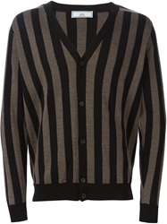 Ami Alexandre Mattiussi Striped V Neck Cardigan Black