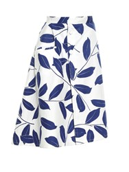 Marni Leaf Print Midi Skirt Blue White