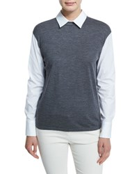 Brunello Cucinelli Poplin Blouse W Wool Jersey Knit Charcoal