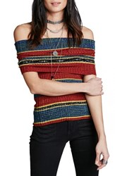 Women's Free People 'Carly' Stripe Tank Red Combo