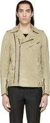 Balmain Beige Denim Biker Jacket