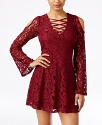Material Girl Juniors' Lattice Front Lace Cold Shoulder Dress Only At Macy's Zinfandel