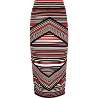River Island Womens Red Stripe Knitted Midi Pencil Skirt