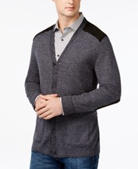 Tasso Elba V Neck Faux Suede Patch Cardigan Only At Macy's Black Marl