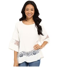 Kut From The Kloth Pierce 3 4 Sleeve Lace Top White Women's Long Sleeve Pullover