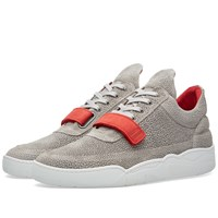 Filling Pieces Low Top Red Strap Sneaker Grey