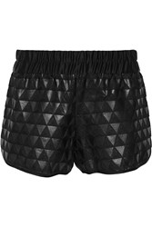 10 Crosby By Derek Lam Terry And Faux Leather Shorts Black