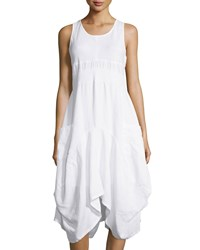 Neiman Marcus Linen Handkerchief Hem Sleeveless Dress Simply White