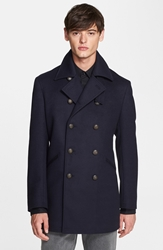 John Varvatos Wool And Cashmere Peacoat Blue
