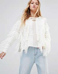 Ebonie N Ivory Boho Tassel Jumper With Tie Neck White