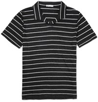 Onia Shaun Slim Fit Striped Linen Polo Shirt Black