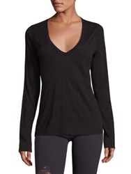 Frame Deep V Neck Cotton Tee Noir