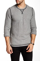 Autumn Cashmere Cashmere Honeycomb Contrast Stitch Sweater Gray