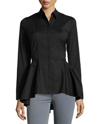 Marled By Reunited Clothing Peplum Button Down Blouse Black