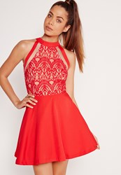 Missguided Mesh Stripe Lace Top Skater Dress Red Red