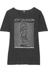 R 13 R13 Joy Division Printed Cotton Blend Jersey T Shirt Charcoal