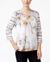 Alfred Dunner Acadia Collection Mixed Print Studded Top Multi