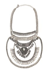 Forever 21 Floral Statement Necklace B.Silver