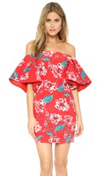 Nicholas Print Floral Tuck Sleeve Dress Red Floral