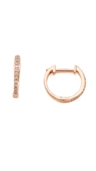 Ariel Gordon Jewelry Pave Diamond Huggie Earrings Rose Gold Diamond